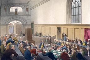 Examination of a bankrupt man  before his creditors in the Court of King's Bench, Guildhall, London, 1808.