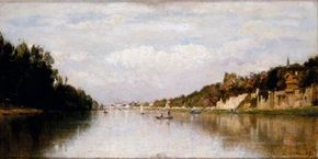 Banks of the Seine by Stanislas Lépine is an oil on canvas (11-7/8 x 23 inches) that is on display at Musée d'Orsay, Paris.