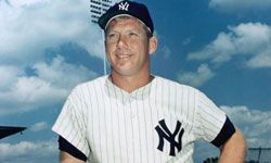 Mickey Mantle poses for a portrait before a game with the New York Yankees.