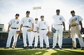 What do baseball players do once they take the field? See more sports pictures.