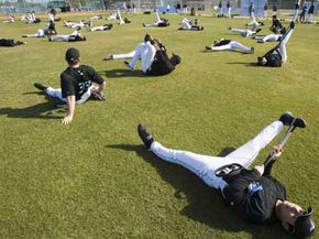 The Toronto Blue Jays warm up during annual spring training in Florida.