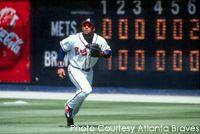 Former Atlanta Braves outfielder Gary Sheffield gets ready to catch a fly ball.
