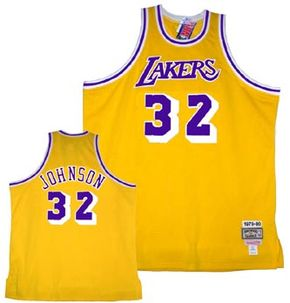 """L.A. Lakers home-game jersey (Thirty-two is the retired number of Earvin """"Magic"""" Johnson.)"""
