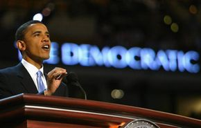 Sen.Obama delivers the keynote address at the 2004 Democratic National Convention in Boston.