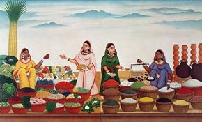 In the barter system, traders must decide on fair exchanges, which can be difficult. In this depiction, one woman holds a scale to compare weights.