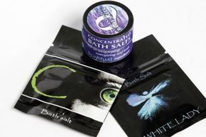 Studio shots of C Original, TranQuility and White Lady, all of which are bath salts and apparently being used by some to get high.