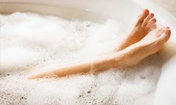 A hot bath can be relaxing before bedtime.