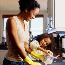 Bathroom toiletries can help clean the kitchen too.