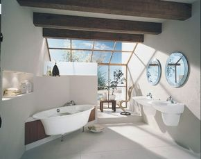Asian influences give this cutting-edge bathroom a serene and tranquil feel.