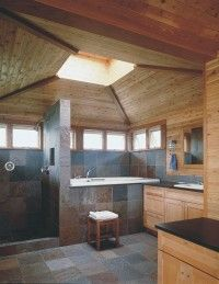 Natural colors define the tone of this bathroom.