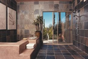 A splendid array of textured, subtly colored tiles with a slightly metallic sheen has a mesmerizing effect.