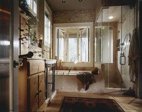 Natural stonework transforms this bath into an opulent, cavernous retreat.