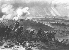 The final charge of the Union forces at Cemetery Hill