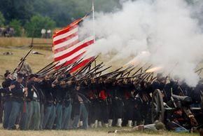 Reenactors open fire on the 142nd anniversary of the Battle of Gettysburg