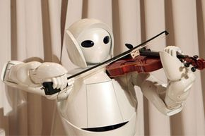 Toyota unveiled a violin-playing robot in 2007 in Tokyo, but artists probably don't need to fear for their jobs. The performance was designed to showcase the precision of movement the robot is capable of.