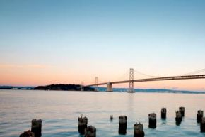 The Bay Bridge actually passes through Yerba Buena Island via the largest diameter bore tunnel in the world. See more bridge pictures.