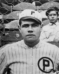 Babe Ruth, a rookie pitcher for the Providence Grays at the time, poses for a team photo in 1914.