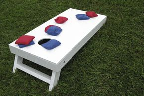 A bean bag toss set, complete with board and bags.