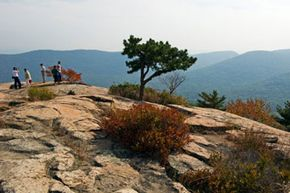 Tourists arrive at the summit of Bear Mountain. See more national park pictures.
