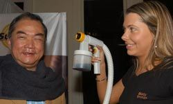 The Lord Mayor of Melbourne, Australia, John So, has a spray-on tan session at Melbourne Spring Fashion Week.