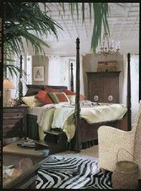 ©Ruder Finn, Inc., Thomasville Furniture                              This bedroom's dark Colonial-style                                            furniture is elegant and timeless.
