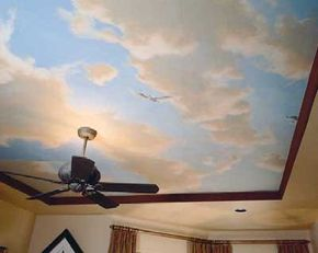 ©Miki and Sonja                              Imagine waking up to this beautiful faux-painted ceiling each morning.