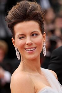 How high can you go? Actress Kate Beckinsale sports a beehive.