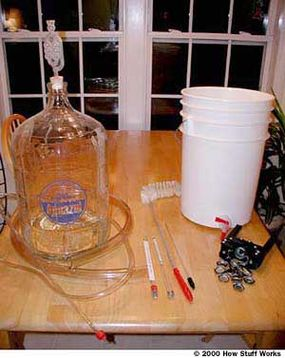 A typical set of homebrewing equipment
