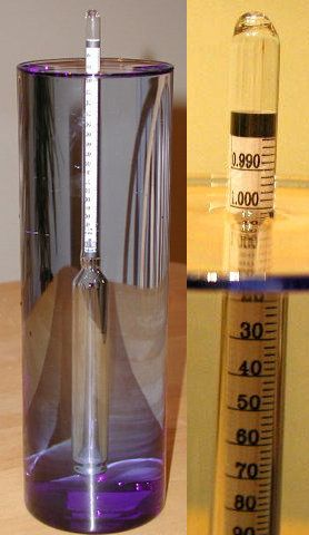 A hydrometer used to measure the specific gravity of liquids. Notice the reading of 1.000 for water.