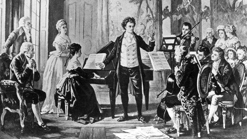 """路德维希·凡·贝多芬指挥了他的三个""""拉苏默斯基""""弦乐四重奏中的一个"""