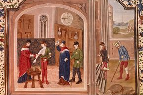 A patient undergoes a bloodletting from a surgeon while others wait outside, (circa 1500s).