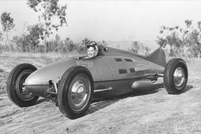 Hollywood, California - Built from the belly tank of a P-38 fighter plane, this sleek hot rod was unofficially timed at 158 miles per hour in 1948.