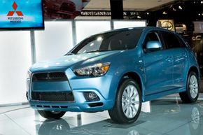 Mitsubishi's all-new Crossover Utility Vehicle (CUV) sits on display during Mitsubishi's press event at the New York International Auto Show at the Javits Center in New York City.
