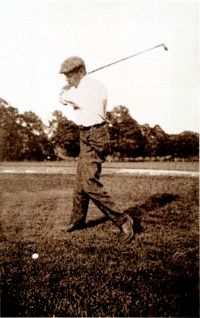 Willie Anderson takes a swing, one of many that led to numerous victories in professional golf.
