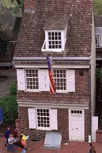 The Betsy Ross House in Philidelphia still stands today. If the famous story is true, this is where George Washington asked Ross to make the first flag.
