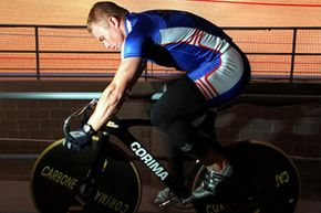 Great Britain Olympic sprinter Craig MacLean warms up on the rollers, during a training session held at Vodafone Arena, Melbourne, Australia.