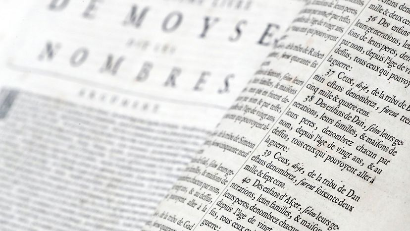 French Bible is open to the Book of Numbers