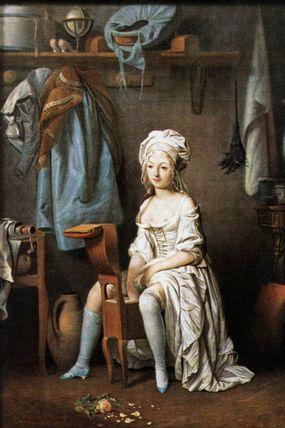 painting of woman on bidet