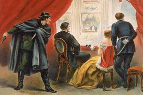 Illustration depicting John Wilkes Booth preparing to assassinate President Abraham Lincoln in the balcony of Ford's Theatre, Washington D.C., April 14, 1865.