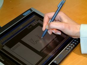 This Tablet PC has a signature verification system.