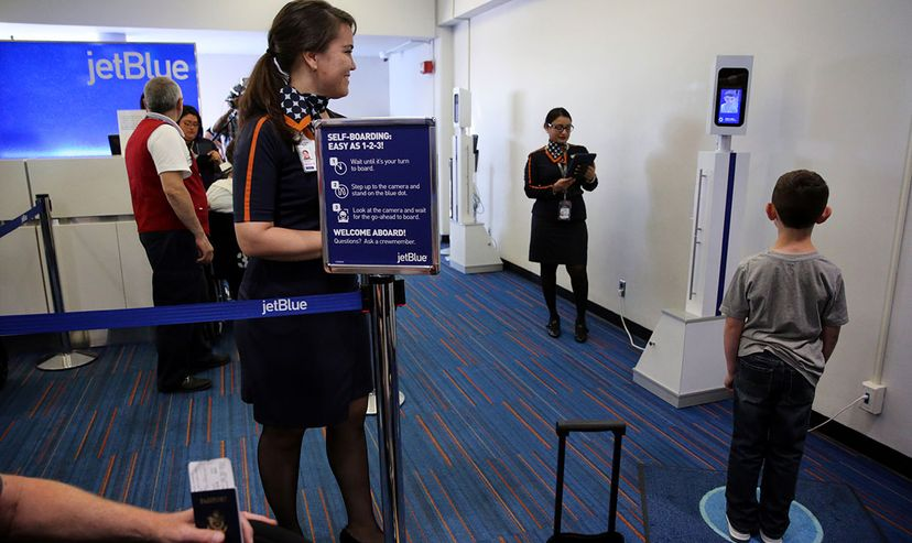 In June 2017, JetBlue gave passengers (and press) the opportunity to try out a boarding system that relied on facial recognition technology rather than boarding passes. Craig F. Walker/The Boston Globe via Getty Image