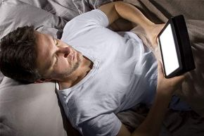 Don't read from your tablet or watch TV just before bedtime -- the light can throw off your body clock.