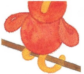 Make sure the legs cross over the brown perch of the swing when attaching the parrot.