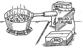 Ask an adult to melt the suet in a saucepan. (Step 3)