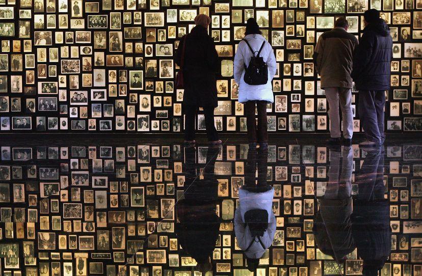 Visitors at the Birkenau Museum