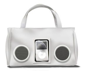 Shoulder bags designed to look like retro boomboxes hold iPods and can actually play music through speakers.