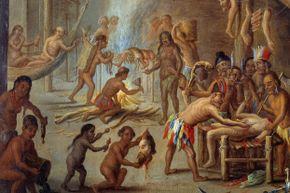 Painting by Jan van Kessel (the Elder) depicting a scene of cannibalism in Brazil in 1644.
