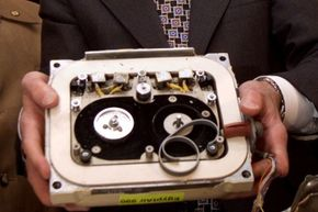An older model flight data recorder from EgyptAir 990, which crashed in 1999.