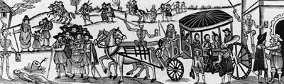 Townspeople flee the Black Death under the watchful gaze of skeletons