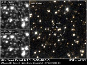 These images show the brightening of MACHO-96-BL5 from ground-based telescopes (left) and the Hubble Space Telescope (right).